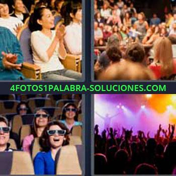 4 Fotos 1 Palabra - cinco-letras concierto cine. Personas en auditorio teatro. Gente en el cine. Concierto.