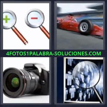4 Fotos 1 Palabra - seis-letras camara fotografica, Simbolos mas y menos, Coche de carreras, Lupa.