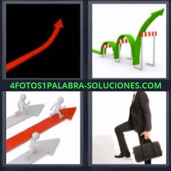 4 Fotos 1 Palabra - ocho-letras flecha roja, Flecha verde saltando obstáculos, Ejecutivo subiendo escaleras.