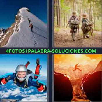 4 Fotos 1 Palabra - montaña pico nieve. Everest. Niños en el bosque. Paracaidista. Salto entre montañas.