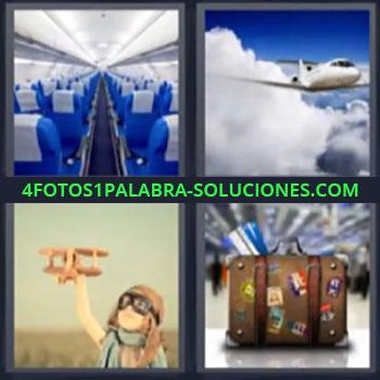 4 Fotos 1 Palabra - cuatro-letras maleta, Volar, Aeroplano, Niño jugando, Maleta de viaje