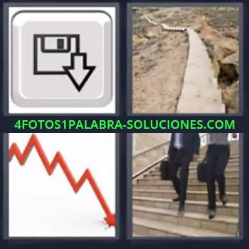 4 Fotos 1 Palabra - siete-letras boton con dibujo disquete, Camino o sendero, Grafico descendente, Personas bajando escaleras