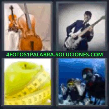 4 Fotos 1 Palabra - violín manzana, violín y contrabajo, hombre tocando guitarra, manzana con cinta métrica, pareja practicando submarinismo.
