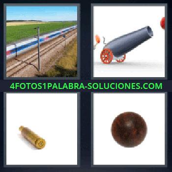 4 Fotos 1 Palabra - tren a toda velocidad, cañón, proyectil, bola de hierro.