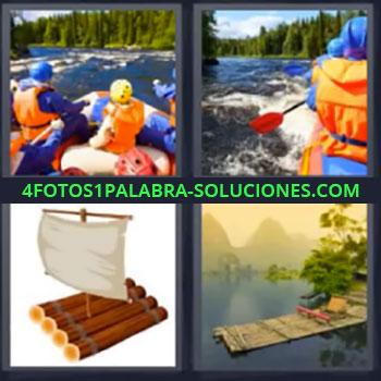 4 Fotos 1 Palabra - siete-letras barca por rio, Kayak en rapidos, Embarcaciones