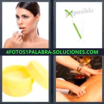 4 Fotos 1 Palabra - masaje, Mujer pintándose los labios, Palabra imposible tachada en verde, Bote de crema amarilla, Manos dando masaje.