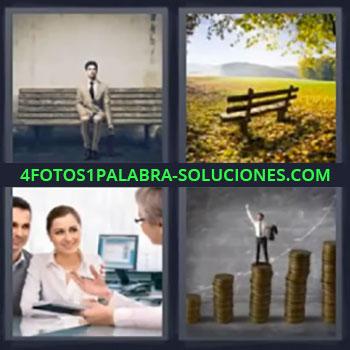 4 Fotos 1 Palabra - cuatro-letras hombre sentado, Banca, Oficina, Dinero