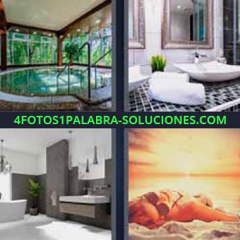 4 Fotos 1 Palabra - seis-letras Cuarto de baño 4 fotos 1 palabra. Jacuzzi. Bañera y lavabo. Mujer tomando el sol en al arena de la playa.