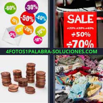 4 Fotos 1 Palabra - ocho-letras etiquetas de descuento con porcentajes. Letrero Sale 50% 70%. Montones de monedas. Mucha ropa usada.