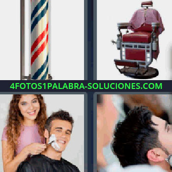 4 Fotos 1 Palabra - cinco-letras barbería o peluquería, tubo iluminado con rayas rojas y azules, sillón de cuero granate, mujer afeitando a un hombre, cabezas de personas.