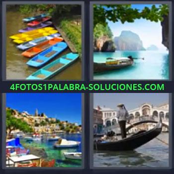 4 Fotos 1 Palabra - siete-letras canoas, Gondola, Piragua, Barcos