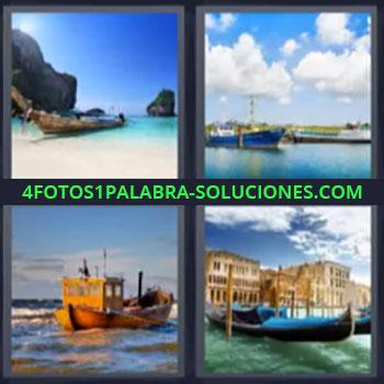 4 Fotos 1 Palabra - cinco-letras barca en la playa gondola, Barcos, Barcas de pescadores.