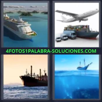 4 Fotos 1 Palabra - seis-letras buque, Medios de transporte, Petrolero navegando, Velero en el oceano
