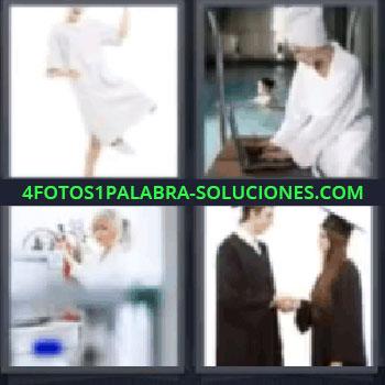 4 Fotos 1 Palabra - mujer de blanco, mujer de blanco bailando, chica junto a piscina en albornoz y toalla en el pelo, científico, universitarios.