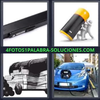 4 Fotos 1 Palabra - siete-letras auto azul, Componente electrónico, Muñecos soportando una pila, Cañón y bombas, Coche azul en reparación.