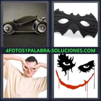 4 Fotos 1 Palabra - siete-letras coche negro y antifaz, Hombre haciendo antifaz con las manos, Dibujo ojos negros boca roja
