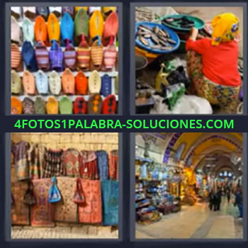 4 Fotos 1 Palabra - cinco-letras bolsas bolsos mercado, Pasaje