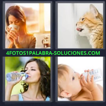 4 Fotos 1 Palabra - mujer tomando algo y gato, Bebe tomando biberon o mamila