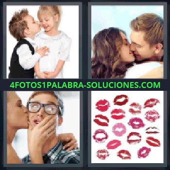 4 Fotos 1 Palabra - siete-letras besando, Niño besando a niña, Hombre y mujer besándose, Chica dando un beso a chico, Marcas de labios o besos.