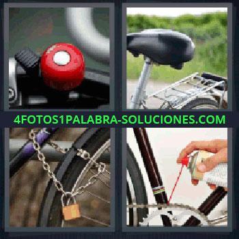 4 Fotos 1 Palabra - Soluciones bicicletas, Timbre, Sillín de bicicleta, Cadena y candado, Engrasando cadena.