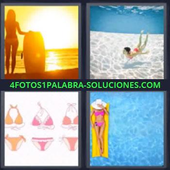 4 Fotos 1 Palabra - mujer atardecer surf en playa, Persona bañandose o buceando, Prendas o ropa de playa, Mujer en colchoneta amarilla