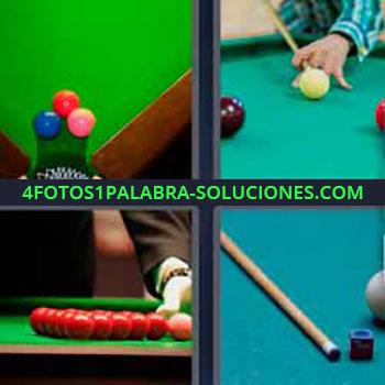 4 Fotos 1 Palabra - cinco-letras bolas de billar. Mesa de billar. Jugando al billar.