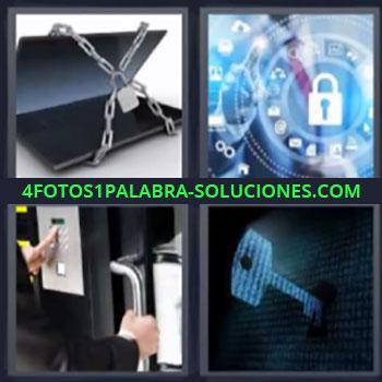4 Fotos 1 Palabra - siete-letras laptop con cadena, Simbolos con candado, Persona pulsando código para abrir puerta.
