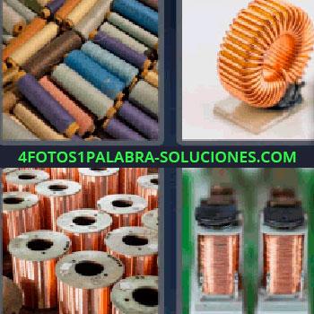 4 Fotos 1 Palabra - siete-letras hilos de colores. Hilos de coser. Carretes de cobre. Cosas metálicas.