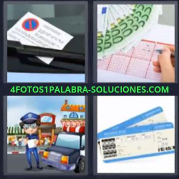 4 Fotos 1 Palabra - siete-letras loteria. Ticket mal aparcado o estacionado. Billetes y lotería. Billetes de avion.
