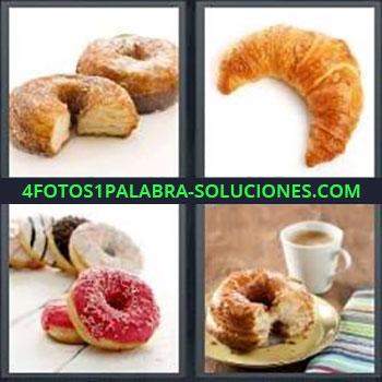 4 Fotos 1 Palabra - ocho-letras donas , pan de dulce, cuerno, bollo con café, donuts, donas de colores, croissant o cruasán.