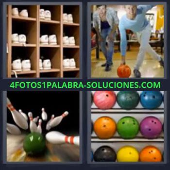 4 Fotos 1 Palabra - cinco-letras boliche, Zapatillas, Pelotas