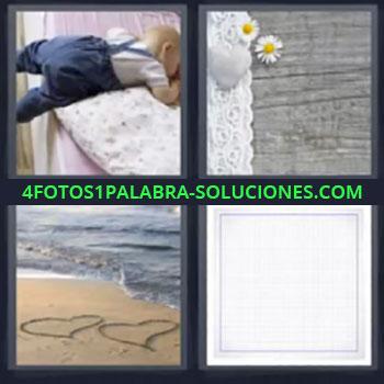 4 Fotos 1 Palabra - siete-letras bebe durmiendo playa corazones