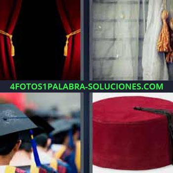 4 Fotos 1 Palabra - cinco-letras cortina blanca. Telón rojo. Cortinas blancas. Birretes graduados. Sombrero chino rojo.