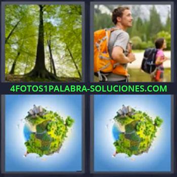 4 Fotos 1 Palabra - siete-letras arboles, Pareja paseando en la naturaleza, Planeta verde, Medio ambiente en la Tierra