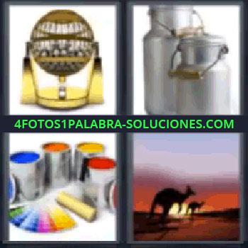 4 Fotos 1 Palabra - seis-letras latas de pintura, bombo de lotería, recipientes metálicos de leche, canguros.