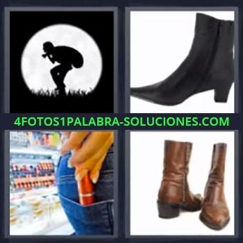 4 Fotos 1 Palabra - siete-letras ladron escapando con luna, Botas, Zapatos, Chica metiendo algo en la bolsa o bolsillo del pantalon