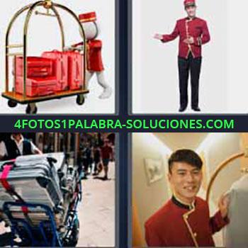 4 Fotos 1 Palabra - ocho-letras maletas rojas. Mozo llevando equipaje. Mayordomo. Recadero. Trabajador hotel. Chico ordenanza.
