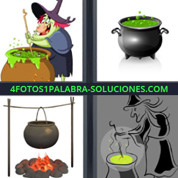 4 Fotos 1 Palabra - seis-letras bruja. Cacerola con líquido verde. Olla al fuego. Bruja preparando pócima.