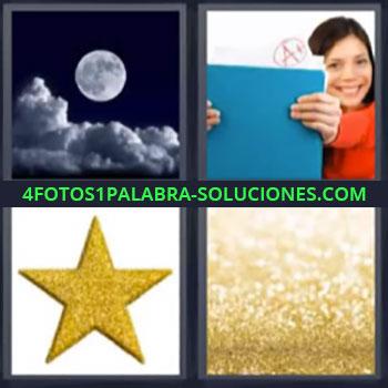 4 Fotos 1 Palabra - seis-letras luna estrella, Niña con buenas notas en los exámenes, Color dorado.