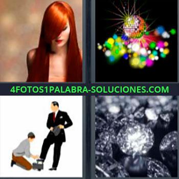 4 Fotos 1 Palabra - cinco-letras diamantes. Mujer cabello largo pelirroja. Bola y luces de colores. Dibujo hombre limpiando zapatos a otro. Bolero de zapatos. Diamante.
