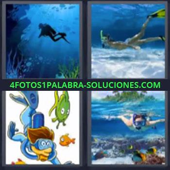 4 Fotos 1 Palabra - cinco-letras buceando. Submarinismo. Hacer esnorkel. Nadar en el agua.