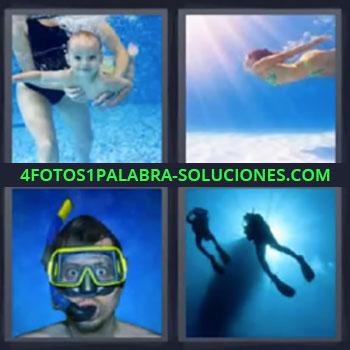 4 Fotos 1 Palabra - siete-letras bebe bajo el agua, Chica buceando, Chico con gafas y tubo de playa