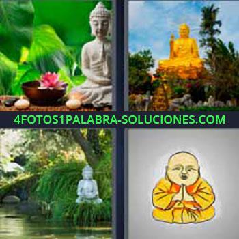 4 Fotos 1 Palabra - seis-letras budismo. Estatua. Jardines. Figuras orientales. Dios budista.