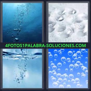 4 Fotos 1 Palabra - siete-letras agua, Fondo de mar, Gotas de agua, Cayendo agua, Dibujo con pompas de aire.