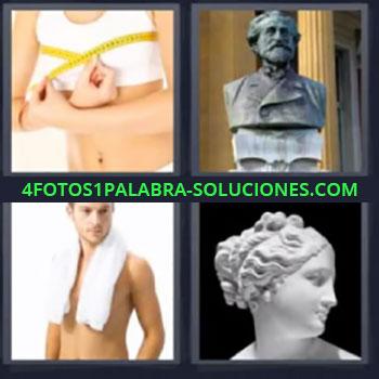 4 Fotos 1 Palabra - mujer midiendo pechos, Estatua, Chico con toalla