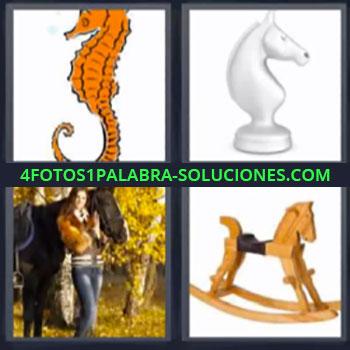 4 Fotos 1 Palabra - seis-letras caballito de madera, Dibujo caballito de mar, Pieza de ajedrez.