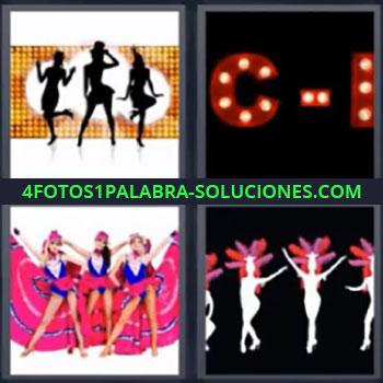 4 Fotos 1 Palabra - siete-letras bailarinas letra c, Letrero de neón con una C, Chicas con ropa rosa bailando, Dibujo de bailarinas parece carnaval.