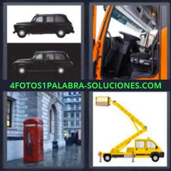 4 Fotos 1 Palabra - siete-letras auto negro, Coche negro, Telefono londinense, Grua amarilla