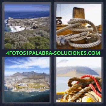 4 Fotos 1 Palabra - siete-letras cuerdas e islas, costa, cuerda atada en el muelle, paisaje de la costa, cuerdas o amarras.