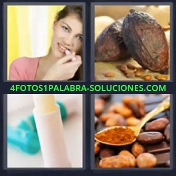 4 Fotos 1 Palabra - mujer pintalabios, Barra labial, Fruto, Cuchara con granos